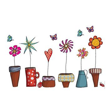 Colorful Cartoon Animal Sticker Removable Flower and Bugs Sticker Decals Wall Decals Art Murals