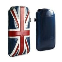 iPhone 5 British Flag Patent Union Jack Leather Style Protective Pouch with Card Slot