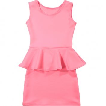 Neon Pink Peplum Dress by Cheryl Kids Creations - ShopKitson.com