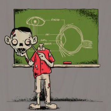 'Eye Lesson' Zombie Teaching School Lesson About Eyeball Anatomy Funny - Plywood Wood Print Poster Wall Art