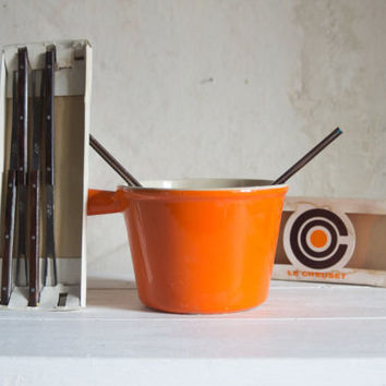 Le Creuset Fondue Forks // 1970 Teak and Metal Fork Set in Orange and Brown // Winter Holiday Hostess Gift
