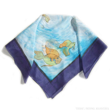 Blue Silk Scarf shawl Hand Painted square gold fish fishes sea dyed on ponge 5 100% silk navy with decorative nautical water 90x90 batik