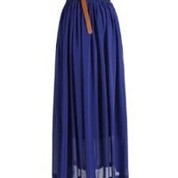 Women's Pleated Chiffon Long Skirt Double Layer Retro Elastic Waist Maxi Dress