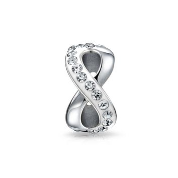 Silver Infinity Knot Love Figure 8 Motif Crystal Spacer Bead Core Sterling Silver Fits European Charm Bracelet For Women