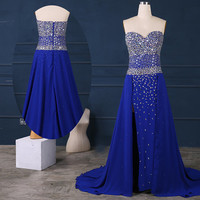 Sexy floor length royal blue long prom dresses silver rhinestones,long party dress,royal blue formal dress,long chiffon evening dresses