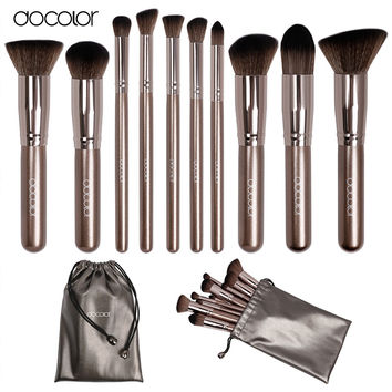Docolor makeup brushes 10pcs Professional brand make up brushes set with bag coffee color with brush clean top Synthetic Hair