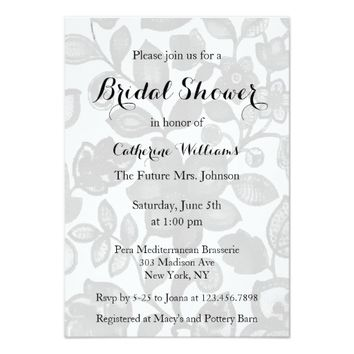 Grey White Flower Design Bridal Shower Invitation