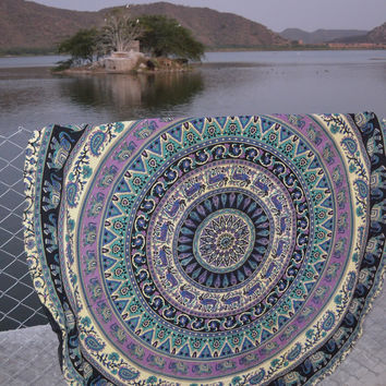 ELEPHANT & DEER BEACH MANDALA ROUND ROUNDIE THROW, YOGA MAT!!