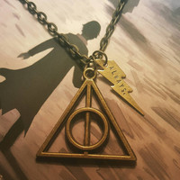 Harry Potter Deathly Hallows Necklace - Always Necklace - Lightning Bolt Harry Potter Necklace