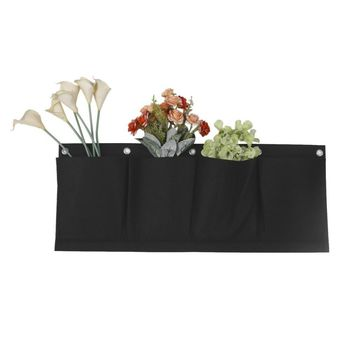 4 Pockets Black Hanging Vertical Wall Garden Planter Flower Planting Bags Pot Home Indoor Outdoor Balcony Gardening Seed 65x26cm