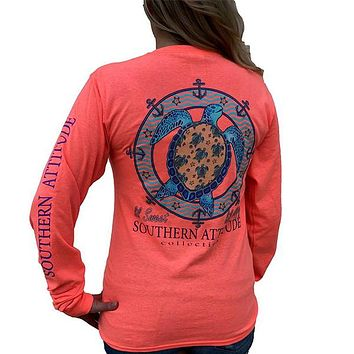 Southern Attitude Preppy Lil Snappy Turtle Coral Long Sleeve T-Shirt