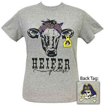 ECU East Carolina Pirates Preppy Heifer Please Cow T-Shirt