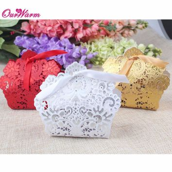 50pcs/lot  Candy Box Wedding Laser Cut Hollow Candy Chocolates Bags Baby shower Gifts Bags