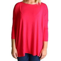 Fuchsia Piko 3/4 Sleeve Top
