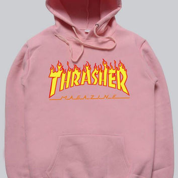 Women sportswear Thrasher hoodie flame skateboard dead fly west hip-hop harajuku hooded fleece Thrasher THRASHER sweatshirt