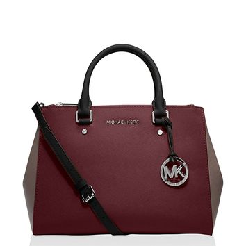 Michael Kors Jet Set Travel Medium Sutton Handbag (Medium, Merlot/Cinder)