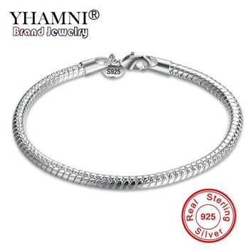 YHAMNI Fashion Original Solid 925 Sterling Silver Charm Bracelets For Men and Women With S925 Stamp Wedding Fine Jewelry SH187