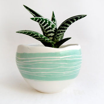 Glazed Spherical Earthenware Planter with  Details in Turquoise Green,Striped Sgraffito and Drainage Hole for the Water