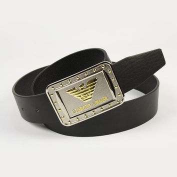 ARMANI Men Fashion Smooth Buckle Belt Leather Belt