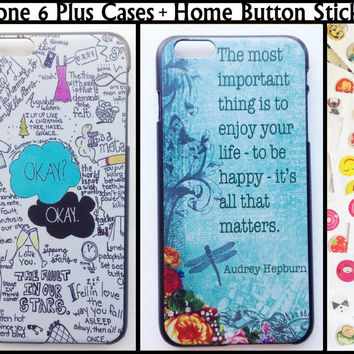 "The Fault In Our Stars iPhone6Plus iPhone 6+ Plus 5.5"" Plastic Hard Case + Home Button Stickers Pack TFIOS Audrey Hepburn Quotes"