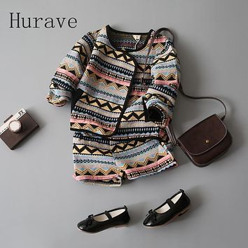 Hurave girls kids clothes patchwork print girls clothing sets Cardigan Sweatshirts + Shorts pants girls clothes B13B14
