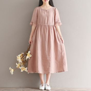 Japan Fashion Mori Girl Dress 2018 Spring New Women Literary Vintage Loose O-neck Butterfly Sleeve Long Cotton Linen Dress