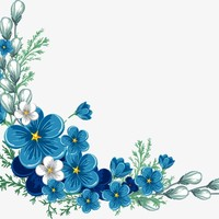 painted blue flower border
