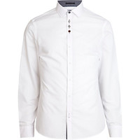 River Island MensWhite accent button long sleeve shirt