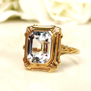 Art Deco Engagement Ring 2.17ct Emerald Cut Blue Spinel Ring 10K Yellow Gold Antique Wedding Ring Something Blue Vintage Bridal Jewelry