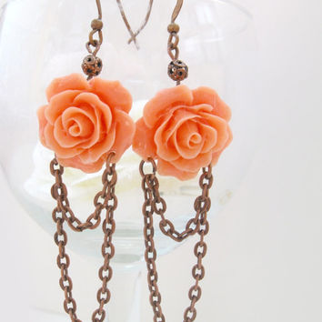 Vintage style copper earrings, coral pink resin rose and chains