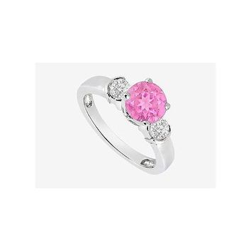 Bezel Set Diamond and Pink Sapphire Engagement Ring in 14K White Gold with 0.70 Carat TGW