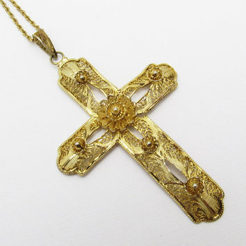 Large Sterling Filigree Cross Necklace Gilt Vintage Van Lou Jewelry N7225
