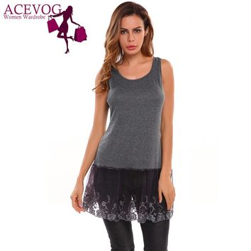 ACEVOG Women Cami Tops Casual Sleeveless O Neck Pullover Vest Lace Patchwork Shirt Extender Blouse Party FemininoTop Tank