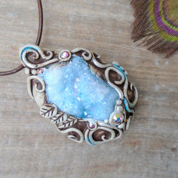 Aqua Aura Druzy Quartz Necklace. Clay Crystal Gemstone Amulet Pendant. Healing Stone Jewelry.