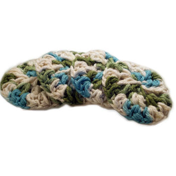 Cotton Face Scrubbies, Handmade, Eco Friendly Makeup Remover FaceCloth Set of 4, Blue, Green, & White