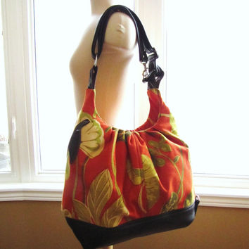 Orange floral canvas with leather bag, extra large tote bag, super size diaper bag, classically colorful elegantly floral by Waverly