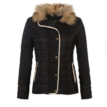 Women Winter Fashion Stand Collar Long Sleeve Quilted Zip-up Slim Jacket Coat Outwear