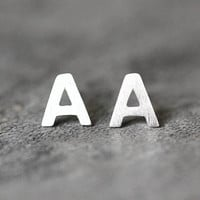 Alphabet Initial Earrings, Sterling Silver Initial Stud Earrings, letter Earrings, Personalised studs earrings Jewelry, gifts for her