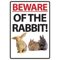 Magnet & Steel Beware of The Rabbit Plastic Sign