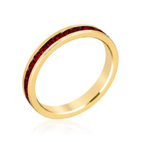 Stylish Stackables With Garnet In Gold Crystal Ring, size : 07