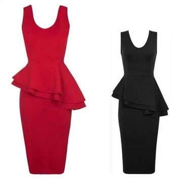 New Fashion Women Tunic Formal Work Elegant Prom Evening Party Mermaid Midi Wiggle Bodycon Pencil Dress Black and Red = 1946345284