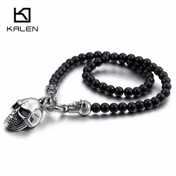 African Glass Beads 47cm Long Chain Necklaces Punk Stainless Steel Skull Head Pendant Statement Necklaces Jewelry