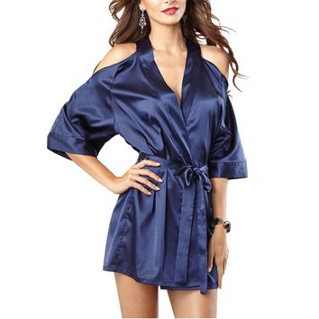 Womens Sleepwear Sexy Silk Robe Cut Out Shoulder Kimono Robes Bathrobe Nightie