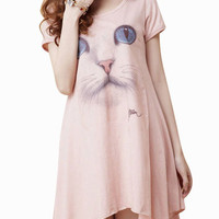 Cat Print Short Sleeve Shirt Dress