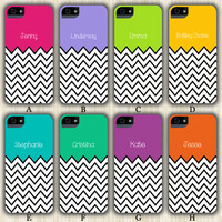 Monogram Teen Fashion Color Chevron Design iPhone 6/5S/5C/5/4S/4 Wrap Case and Tough Case