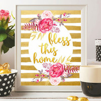 Bless this home Printable Christian wall art Print Gift Christian quotes Watercolor flowers floral Gold Bible quotes 8x10 Digital file SALE