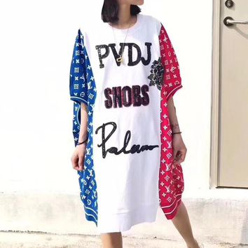 """Louis Vutitton"" Women Loose Casual Personality Multicolor Sequin Letter Short Sleeve Bat Sleeve T-shirt Dress"