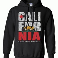 California Republic Vintage Retro Text Hoodie - Ash Small