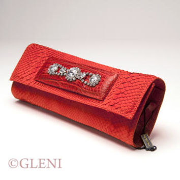 GLENI LUXURY RED PYTHON LEATHER CLUTCH WITH GENUINE RED ALLIGATOR DETAILS AND SHINING RHINESTONES