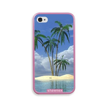 Shawnex Tropical Deserted Island Paradise Beach Pink Silicon Bumper iPhone 4 & 4S Case - Fits iPhone 4 & 4S
